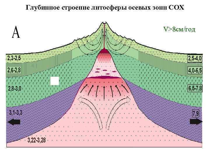 Глубинное строение литосферы осевых зонн СОХ V>8 см/год