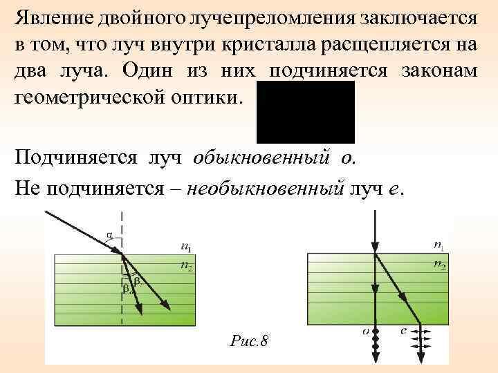 Явление двойного лучепреломления заключается в том, что луч внутри кристалла расщепляется на два луча.