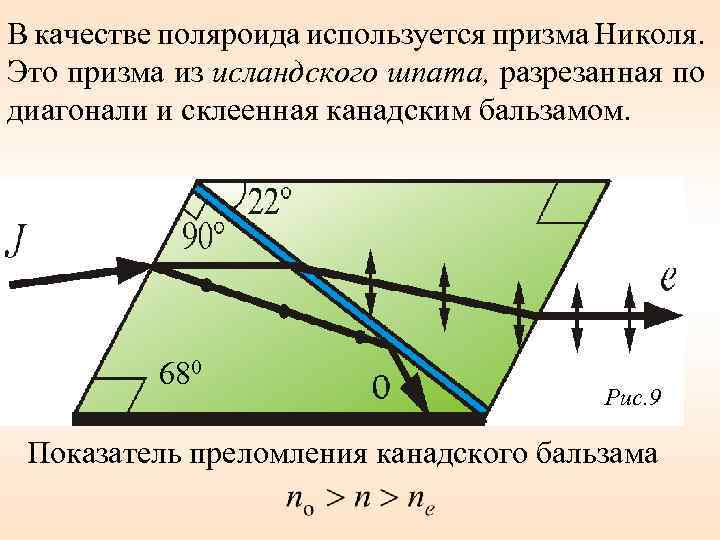 В качестве поляроида используется призма Николя. Это призма из исландского шпата, разрезанная по диагонали