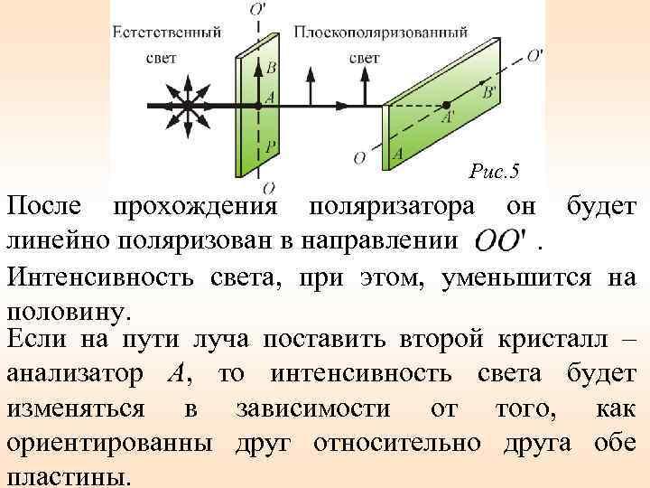 Рис. 5 После прохождения поляризатора он будет линейно поляризован в направлении. Интенсивность света, при