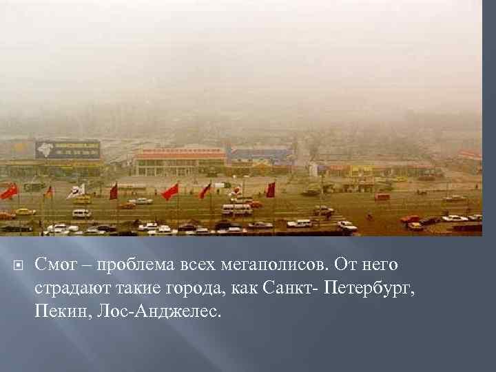 Смог – проблема всех мегаполисов. От него страдают такие города, как Санкт- Петербург,