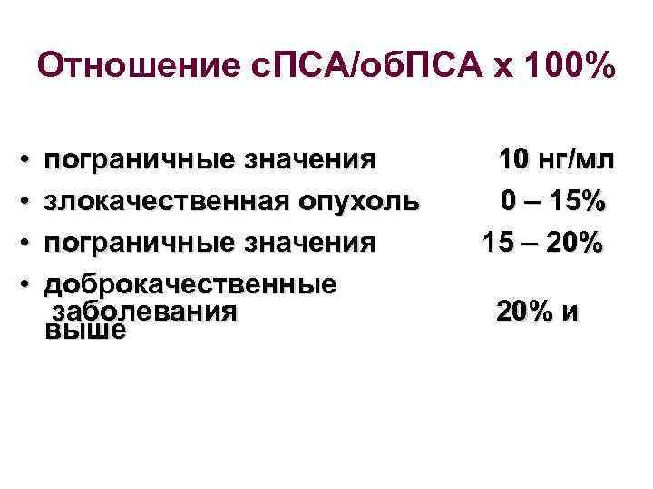 Отношение с. ПСА/об. ПСА х 100% • • пограничные значения злокачественная опухоль пограничные значения
