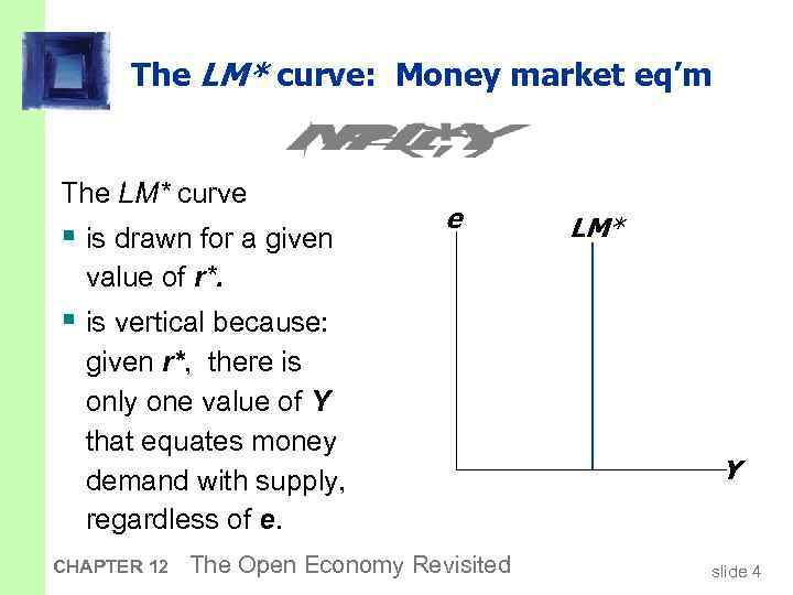 The LM* curve: Money market eq'm The LM* curve § is drawn for a
