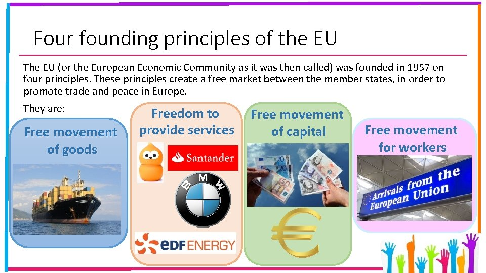 Four founding principles of the EU The EU (or the European Economic Community as