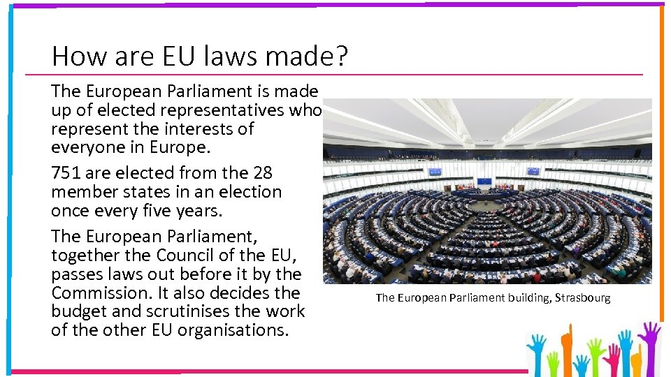 How are EU laws made? The European Parliament is made up of elected representatives