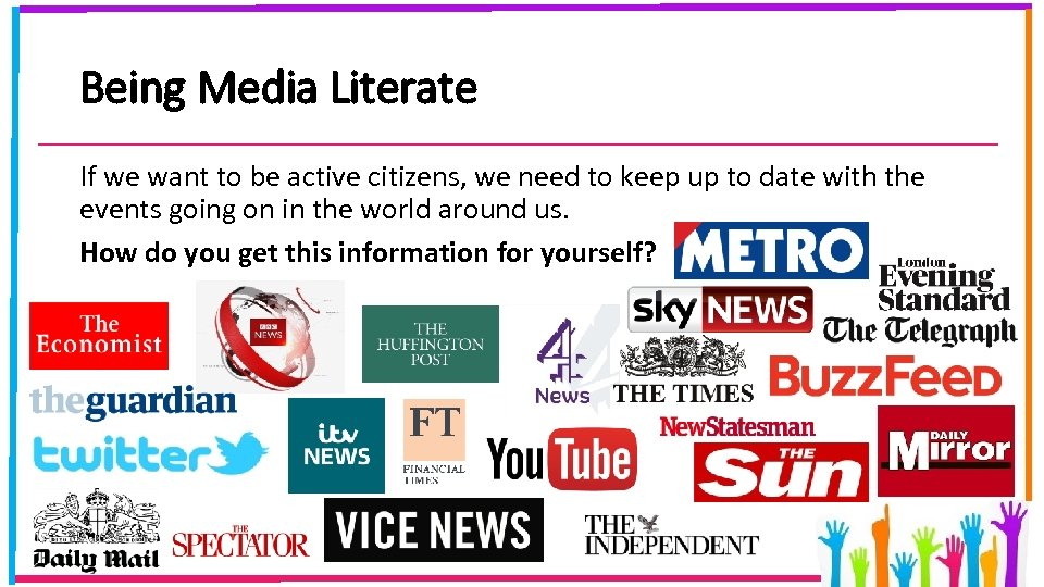 Being Media Literate If we want to be active citizens, we need to keep