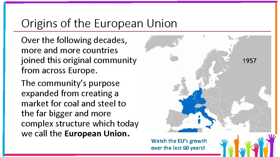 Origins of the European Union Over the following decades, more and more countries joined