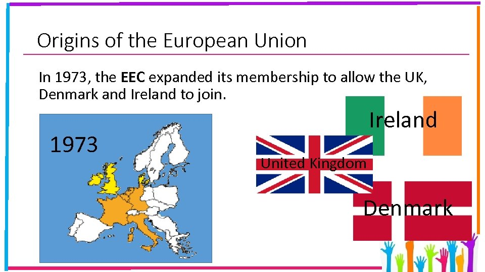 Origins of the European Union In 1973, the EEC expanded its membership to allow