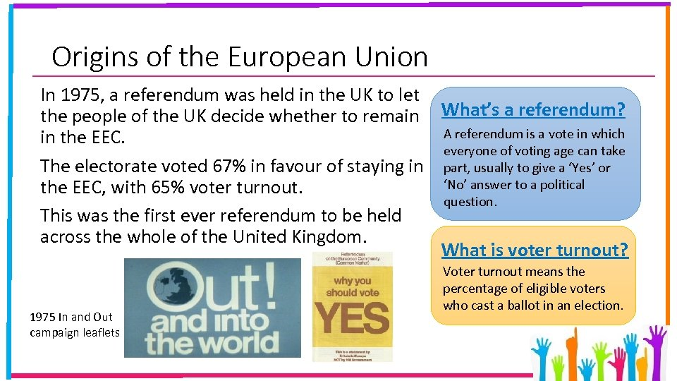 Origins of the European Union In 1975, a referendum was held in the UK