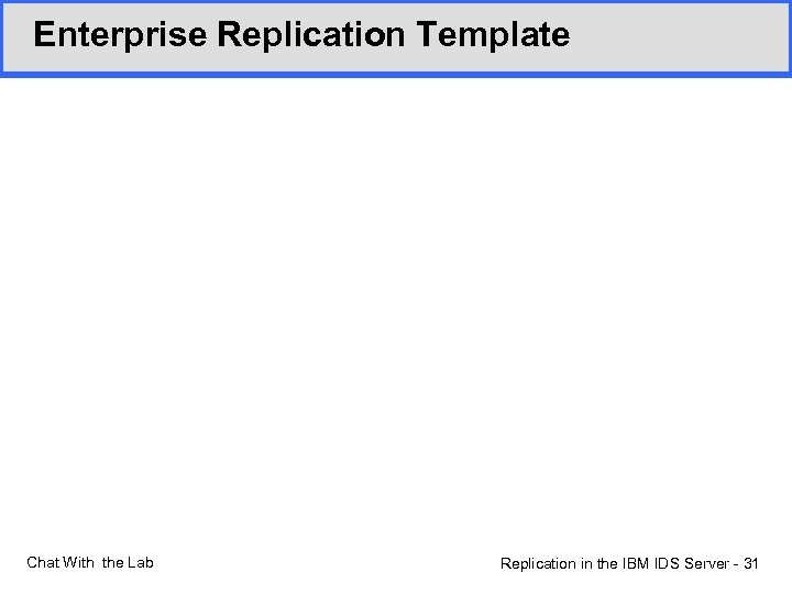 Enterprise Replication Template Chat With the Lab Replication in the IBM IDS Server -