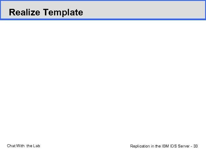 Realize Template Chat With the Lab Replication in the IBM IDS Server - 33