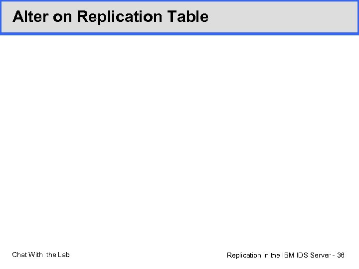 Alter on Replication Table Chat With the Lab Replication in the IBM IDS Server