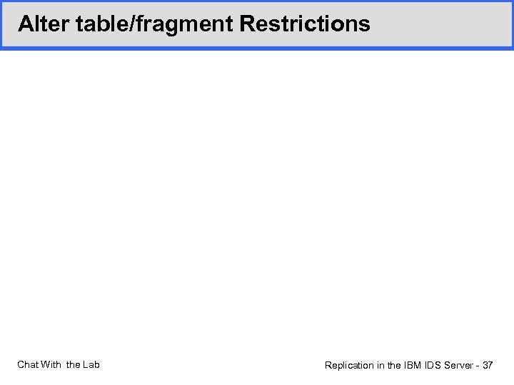 Alter table/fragment Restrictions Chat With the Lab Replication in the IBM IDS Server -