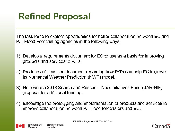 Refined Proposal The task force to explore opportunities for better collaboration between EC and