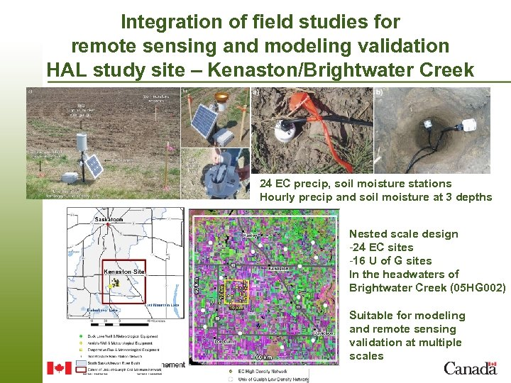 Integration of field studies for remote sensing and modeling validation HAL study site –