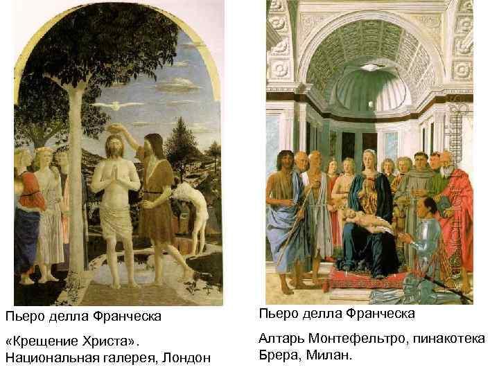 Пьеро делла Франческа «Крещение Христа» . Национальная галерея, Лондон Алтарь Монтефельтро, пинакотека Брера, Милан.