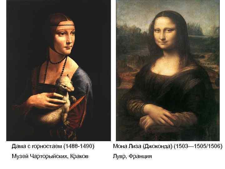 Дама с горностаем (1488 -1490) Мона Лиза (Джоконда) (1503— 1505/1506) Музей Чарторыйских, Краков Лувр,