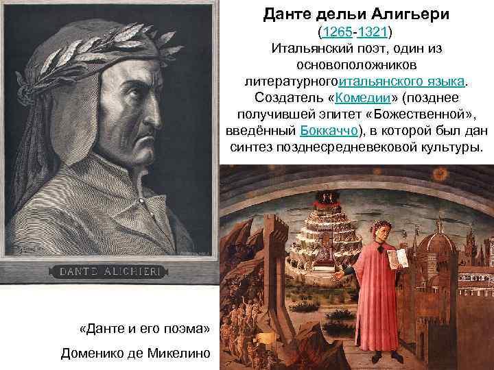 Данте дельи Алигьери (1265 -1321) Итальянский поэт, один из основоположников литературногоитальянского языка. Создатель «Комедии»