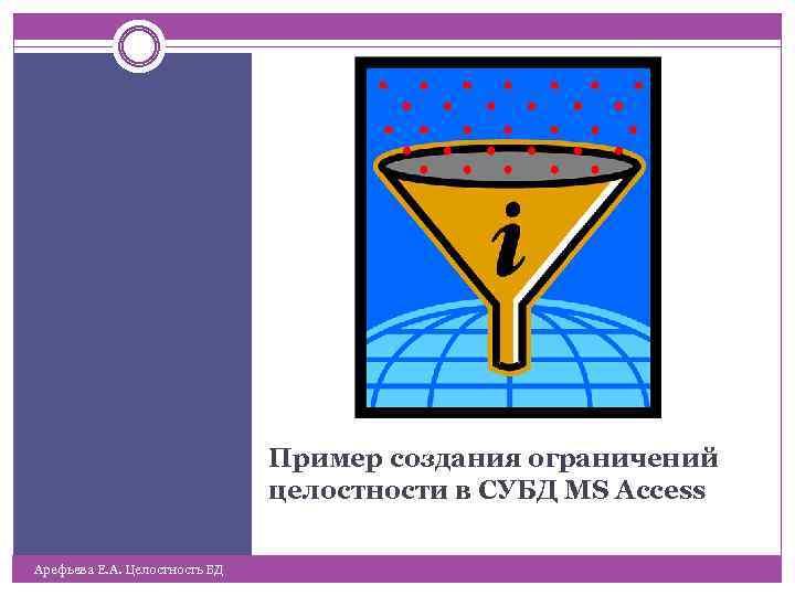 Пример создания ограничений целостности в СУБД MS Ассеss Арефьева Е. А. Целостность БД