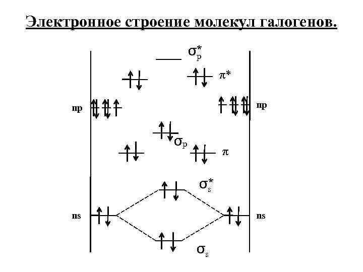 Электронное строение молекул галогенов. σ* p π* np np σp π σ* s ns