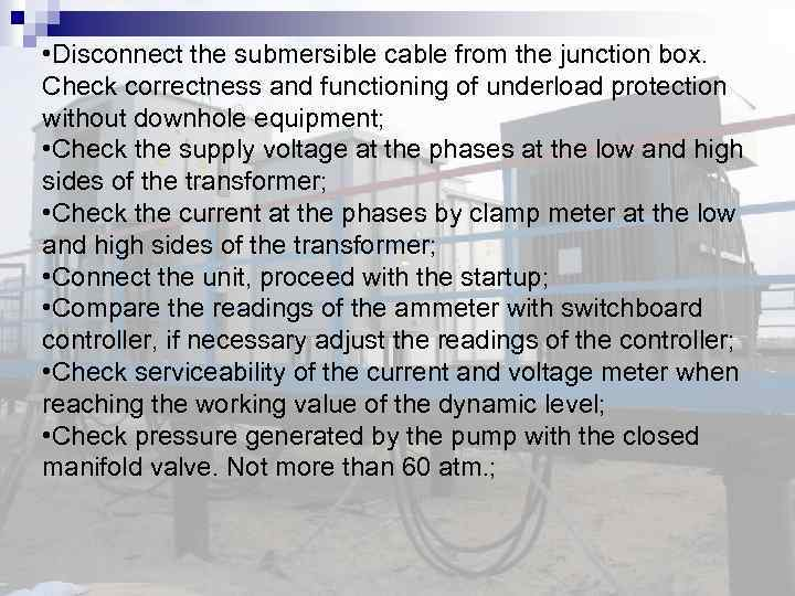• Disconnect the submersible cable from the junction box. Check correctness and functioning