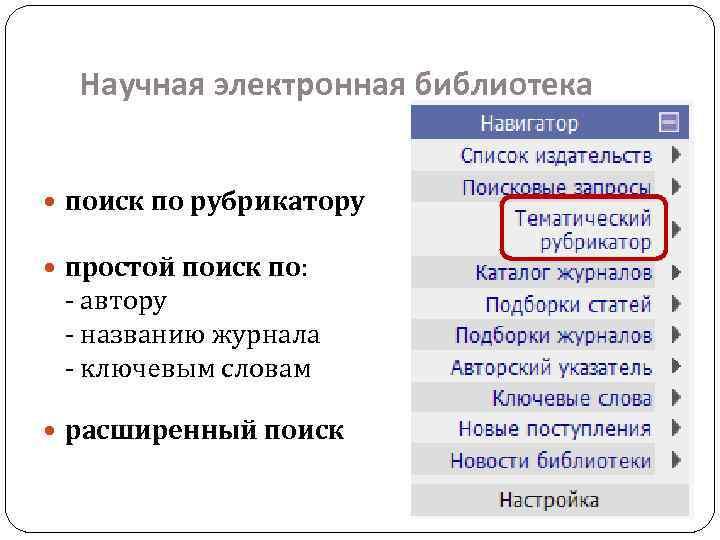 Научная электронная библиотека поиск по рубрикатору простой поиск по: - автору - названию журнала