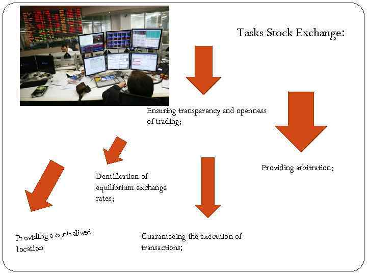 Tasks Stock Exchange: Ensuring transparency and openness of trading; Dentification of equilibrium exchange rates;