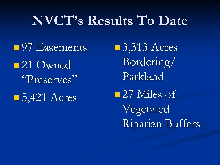 NVCT's Results To Date n 97 Easements n 3, 313 Acres n 21 Owned