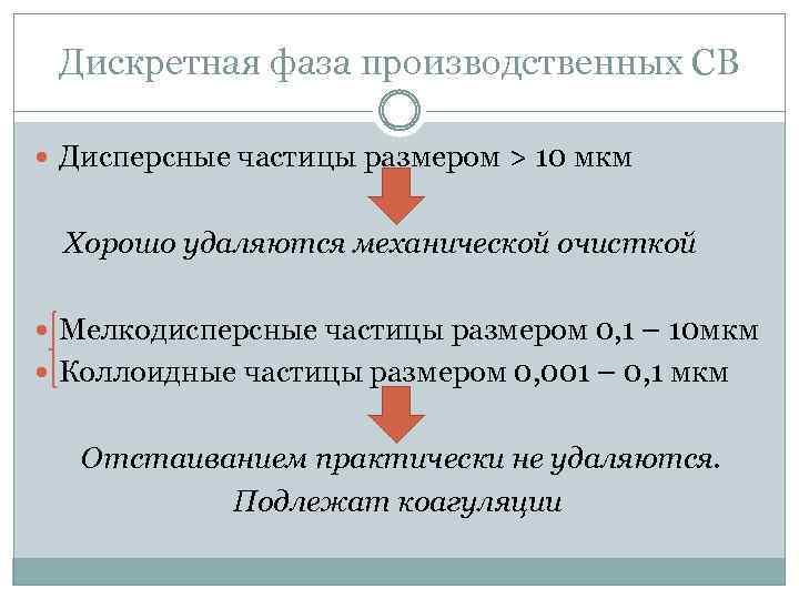 Дискретная фаза производственных СВ Дисперсные частицы размером > 10 мкм Хорошо удаляются механической очисткой
