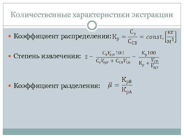 Количественные характеристики экстракции Коэффициент распределения: Степень извлечения: Коэффициент разделения: