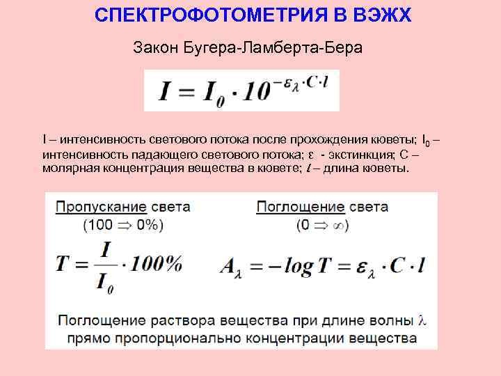 СПЕКТРОФОТОМЕТРИЯ В ВЭЖХ Закон Бугера-Ламберта-Бера I – интенсивность светового потока после прохождения кюветы; I