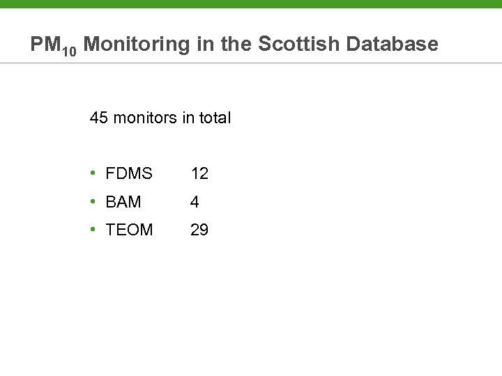 PM 10 Monitoring in the Scottish Database 45 monitors in total • FDMS 12