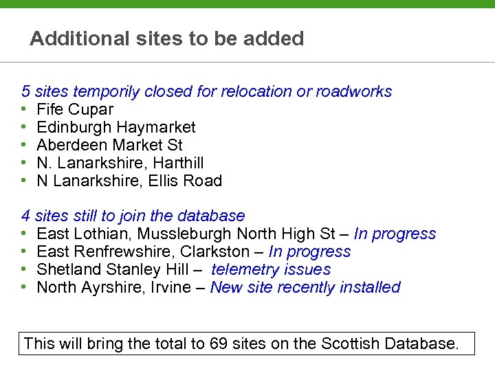Additional sites to be added 5 sites temporily closed for relocation or roadworks •