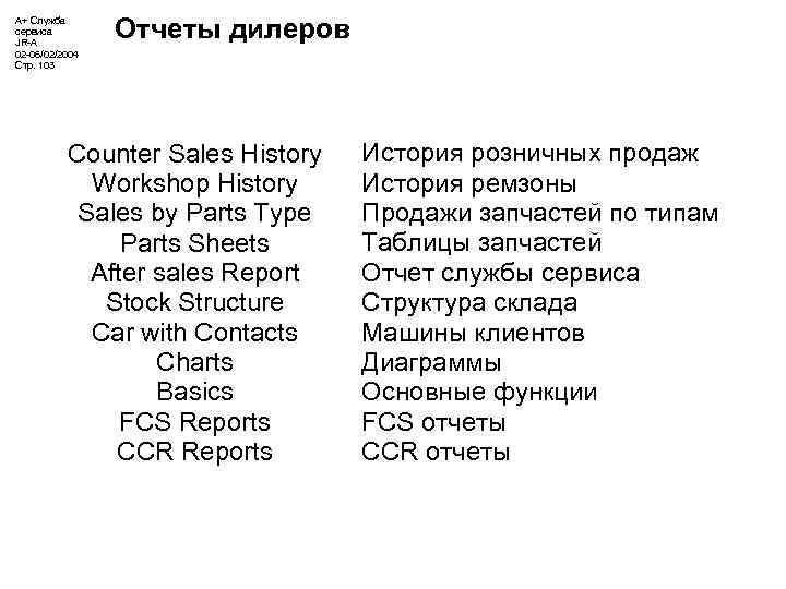 А+ Служба сервиса JR-A 02 -06/02/2004 Стр. 103 Отчеты дилеров Counter Sales History Workshop