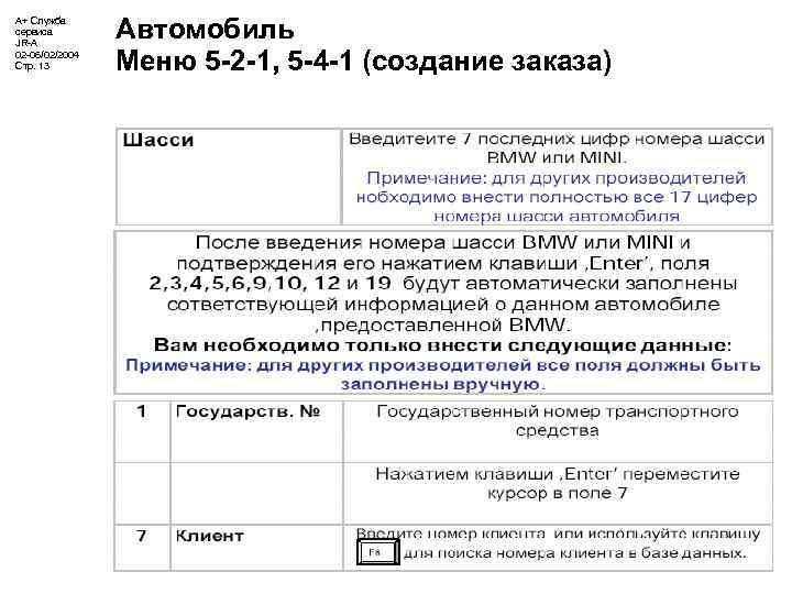 А+ Служба сервиса JR-A 02 -06/02/2004 Стр. 13 Автомобиль Меню 5 -2 -1, 5
