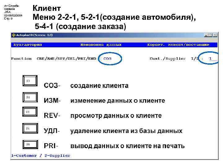 А+ Служба сервиса JR-A 02 -06/02/2004 Стр. 9 Клиент Меню 2 -2 -1, 5