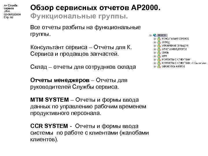 А+ Служба сервиса JR-A 02 -06/02/2004 Стр. 92 Обзор сервисных отчетов АР 2000. Функциональные