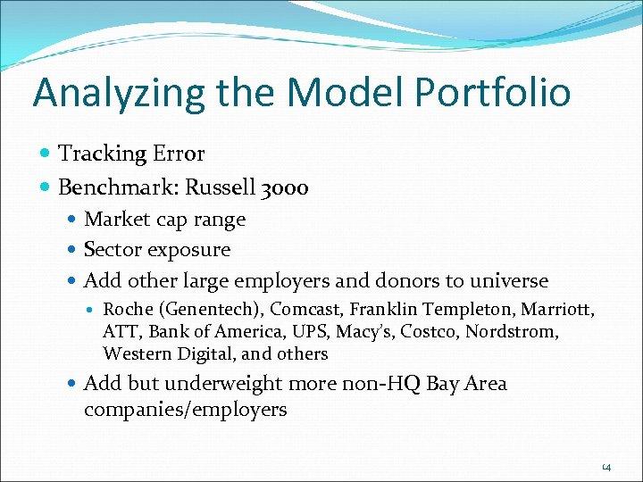 Analyzing the Model Portfolio Tracking Error Benchmark: Russell 3000 Market cap range Sector exposure