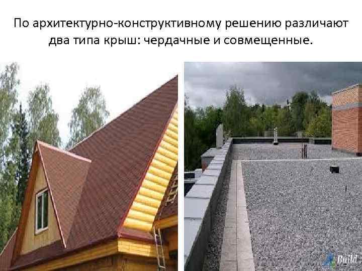 По архитектурно-конструктивному решению различают два типа крыш: чердачные и совмещенные.