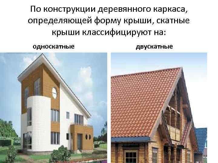 По конструкции деревянного каркаса, определяющей форму крыши, скатные крыши классифицируют на: односкатные двускатные