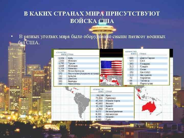 В КАКИХ СТРАНАХ МИРА ПРИСУТСТВУЮТ ВОЙСКА США • В разных уголках мира было оборудовано