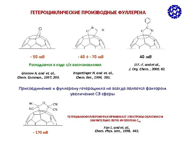 ГЕТЕРОЦИКЛИЧЕСКИЕ ПРОИЗВОДНЫЕ ФУЛЛЕРЕНА - 50 м. В - 40 ÷ - 70 м. В