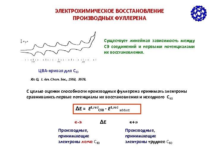ЭЛЕКТРОХИМИЧЕСКОЕ ВОССТАНОВЛЕНИЕ ПРОИЗВОДНЫХ ФУЛЛЕРЕНА Существует линейная зависимость между СЭ соединений и первыми потенциалами их