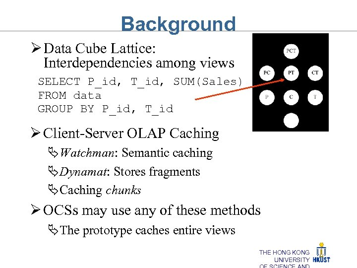 Background Ø Data Cube Lattice: Interdependencies among views SELECT P_id, T_id, SUM(Sales) FROM data
