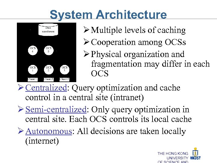 System Architecture Ø Multiple levels of caching Ø Cooperation among OCSs Ø Physical organization