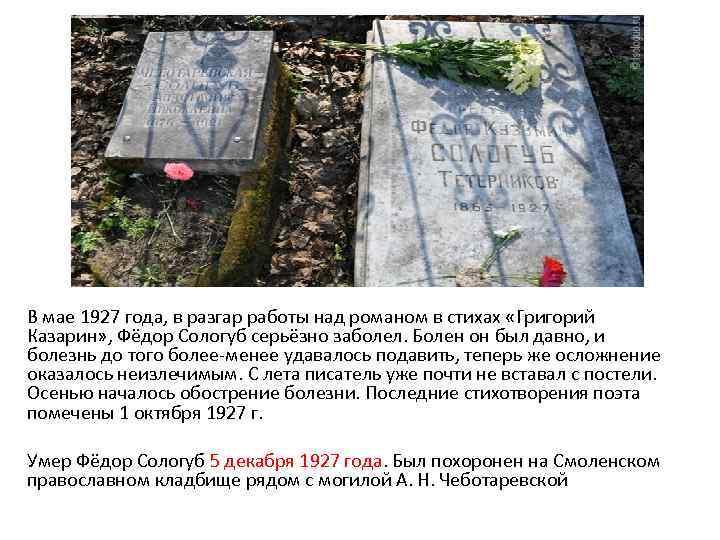 В мае 1927 года, в разгар работы над романом в стихах «Григорий Казарин» ,