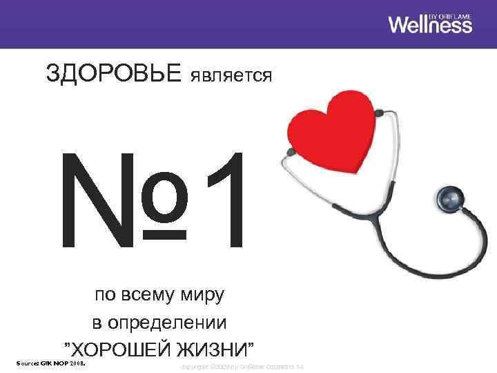"""ЗДОРОВЬЕ является № 1 по всему миру в определении """"ХОРОШЕЙ ЖИЗНИ"""" Source: Gf. K"""