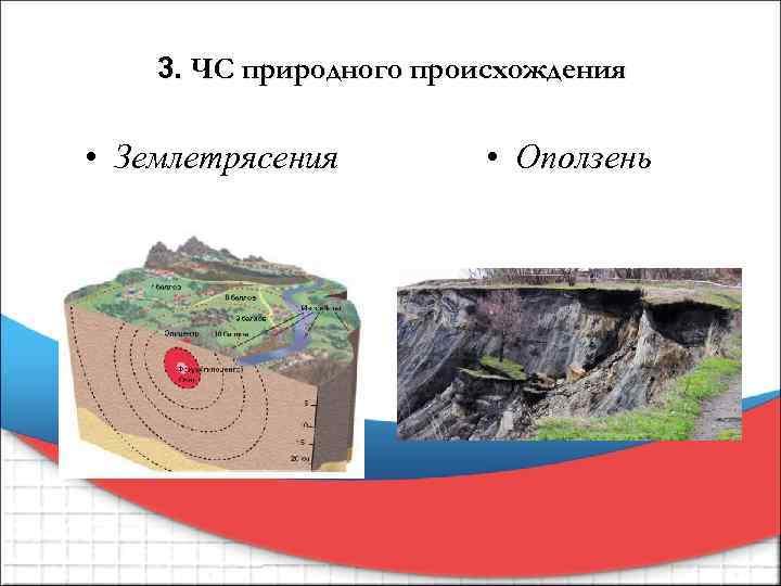 3. ЧС природного происхождения • Землетрясения • Оползень