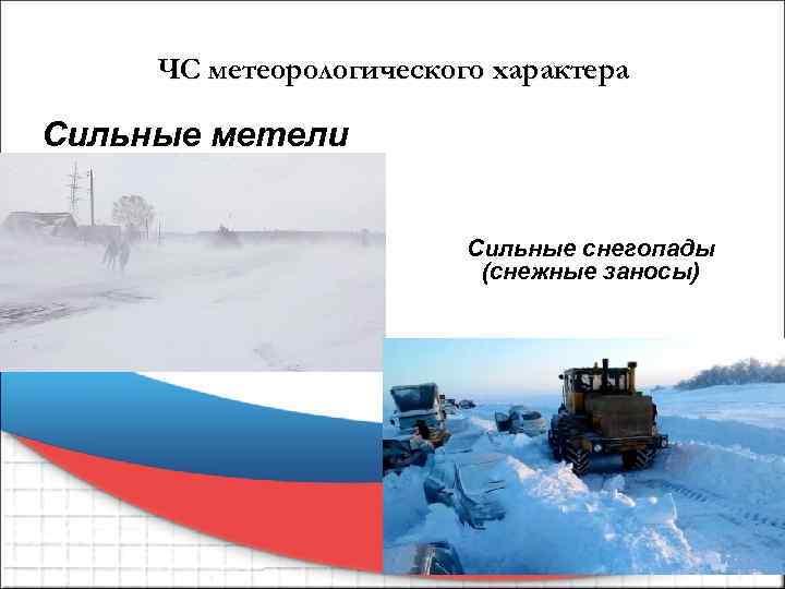 ЧС метеорологического характера Сильные метели Сильные снегопады (снежные заносы)