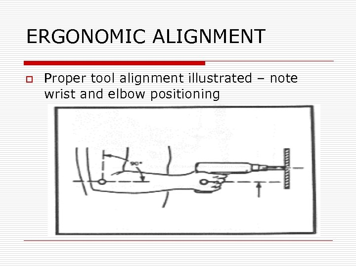 ERGONOMIC ALIGNMENT o Proper tool alignment illustrated – note wrist and elbow positioning
